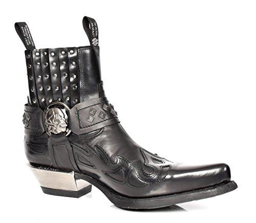 New Rock Herren Biker Stil Chelsea Stiefel Schwarz überstreifen Etches Leder Knöchel Schuhe