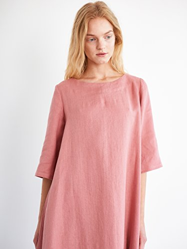 CHARLOTTE Trapeze Linen Dress in Salmon Pink Short Sleeve Boat Neck Summer by Love and Confuse
