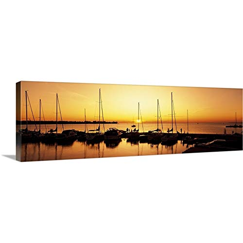 (GREATBIGCANVAS Gallery-Wrapped Canvas Entitled Silhouette of Boats in The sea, Egg Harbor, Door County, Wisconsin by 60