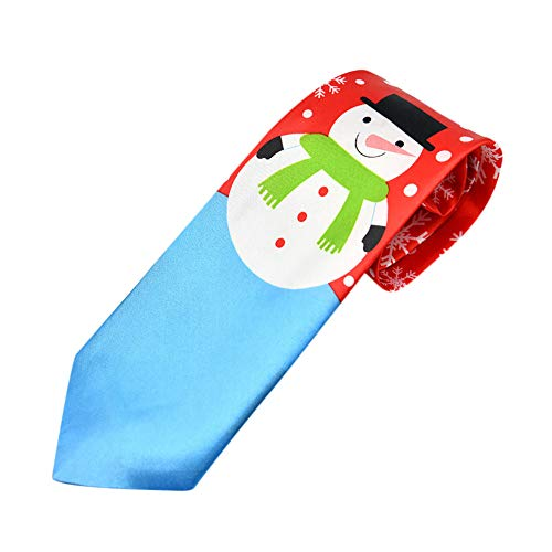 Forthery Christmas Ties Clearance for Men Soft Snowman Necktie Holiday Festival Theme Ties(D)