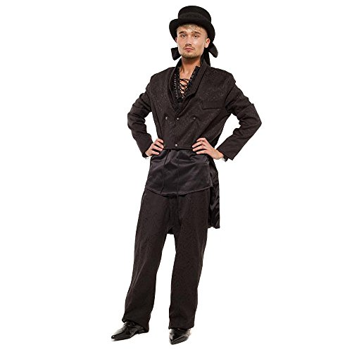 [Golden Steampunk Men's Emporium Brocade Trousers - 38, Black] (Vampire Suit)