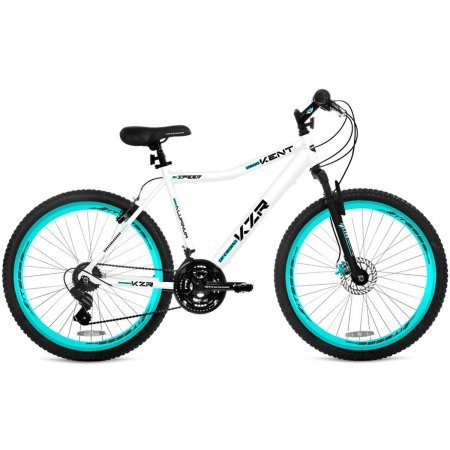 "26"" Womens Kent KZR Mountain Bike, White/Teal, 21-speed Shimano drivetrain"
