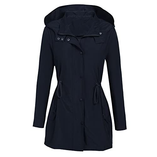 Donkap Womens Lightweight Hoodie Jacket Water Repellent With Pockets Parka Windproof Hiking Coat
