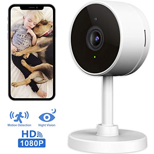 LARKKEY WiFi Home Security Surveillance Camera 1080P, Smart Baby Monitor Compatible with Alexa and Google Home, Motion Detection & Tracker, Night Vision (Home Security Camera Monitor)