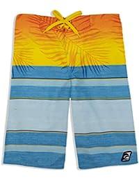 LAGUNA Boys Faded Palm Tropical Boardshorts Swim Trunks, UPF 50+, Blue/Orange, 18/20
