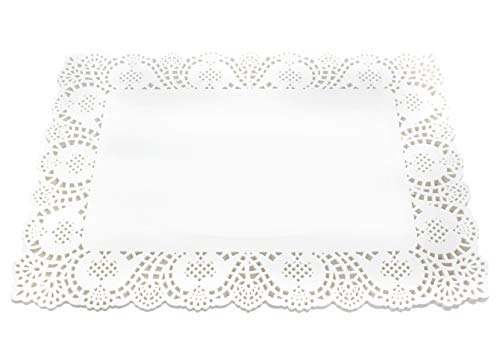 100 Pcs White Rectangle Lace Paper Doilies Placemats for Wedding Tea Party and Baking, 12x8 Inch (Square Paper Lace Doilies)