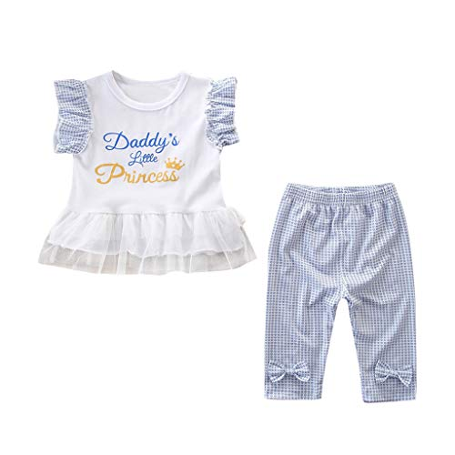 Elegant Casual Toddler Clothes,Toddler Kids Baby Girls Outfits Clothes Princess Letter T-Shirt Tops+Pants Set,Shi TOU_Children,2019 New Children's Clothing 0-3 Years Old Half boy 2 Piece Suit White ()