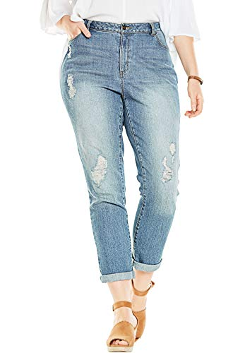 Woman Within Women's Plus Size Girlfriend Stretch Jean - 14 W, Distressed
