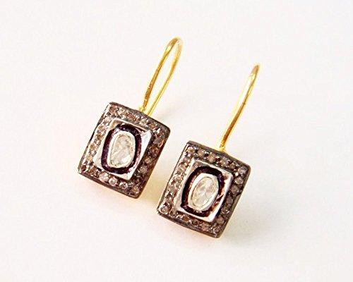Diamond Earrings Hoops - Rose Cut Diamond Antique Inspired Earrings - 925 Sterling Silver Earrings - Polki Diamond Earrings Jewelry
