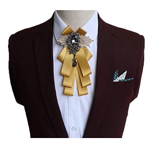 Fuerjia Wedding gold bow tie for men Classic Party Pair Bowknot Necktie wedding bridegroom Host gift (H11-Golden)