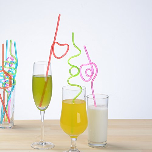 JOYEAN Crazy Straws 50pcs for Kids, Fun Varied Twists and Vibrant Colors Silly Straws by JOYEAN (Image #1)