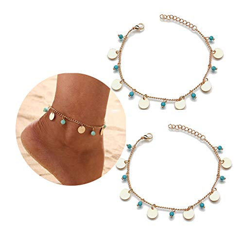 FiveLucky 2 Pack Vintage Turquoise Disc Anklet Gold Beach Barefoot Chain for Women