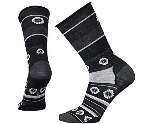 Smartwool Women's Dazed Dandelion Crew Socks (Charcoal Heather) Medium
