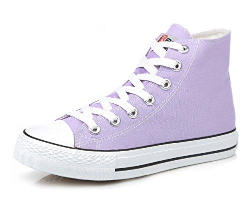 Aisun Womens Classico Casual Sportivo Punta Rotonda Lace Up Scarpe Sneakers Alte Su Tela Piatte Piattaforma Alta Viola