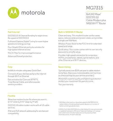 Motorola FBA_Mg7315-10 8X4 Cable Modem Gateway + WiFi N450 Gige Router with Power Boost, Model Mg7315, 343 Mbps Docsis 3.0