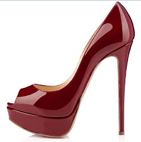 Meijia - Zapatos con tacón mujer rojo vino