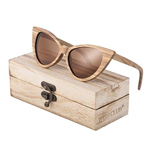 WISH CLUB Cat Eye Wood Frame Polarized Sunglasses for Women Girls Handmade Mirrored Lenses Vintage Wooden Bamboo UV400 Eyewear Fashion Light Cute Sun Glasses with Box (Brown)