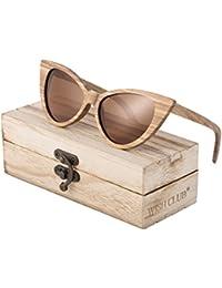 Cat Eye Handmade Wood Frame Polarized Sunglasses for...