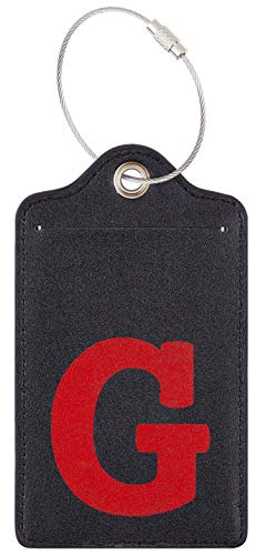 Chelmon Initial Luggage Tag with Full Privacy Cover and Stainless Steel Loop (G) (Initial Tag)