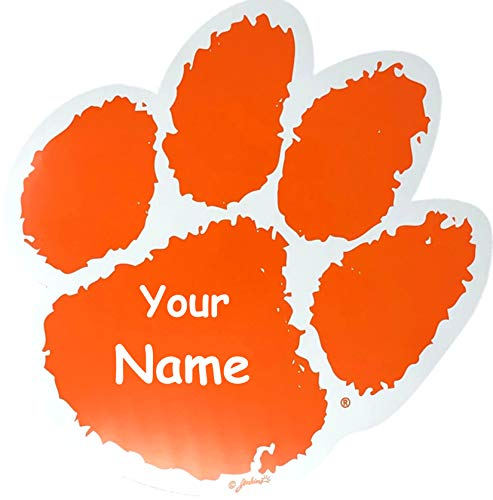 The Trendy Turtle Personalized Clemson University Tiger Paw Print Logo Car Tail Gate Decal Magnet with Free Custom Name