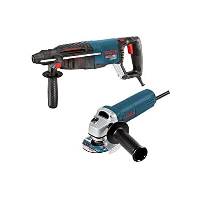 "Bosch 11255VSR-GWS8 1"" SDS-plus Bulldog Xtreme Rotary Hammer with 4-1/2"" Small Angle Grinder, Blue"