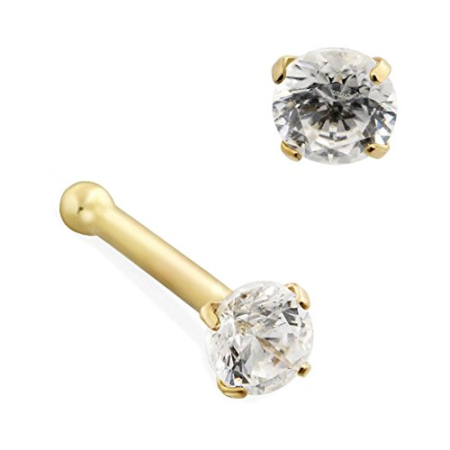 MsPiercing 14K Gold Nose Bone With Round CZ, Gauge: 22 (0.6Mm), 14K Yellow Gold, Large - (Large Gauge Piercings)
