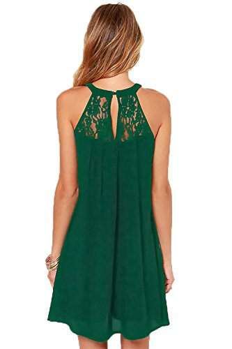 Green Dark Sleeveless Casual Dress Chiffon Patchwork Lace Women's DREAGAL Loose Mini ZvFBBw