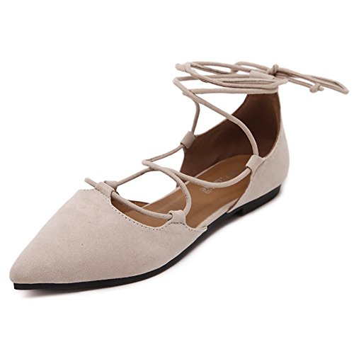 Lace Flats Lace Up (Meeshine Womens D'Orsay Pointy Toe Ankle Strap Wrap Ballet Flats Lace up Flat Shoes Apricot US 8)