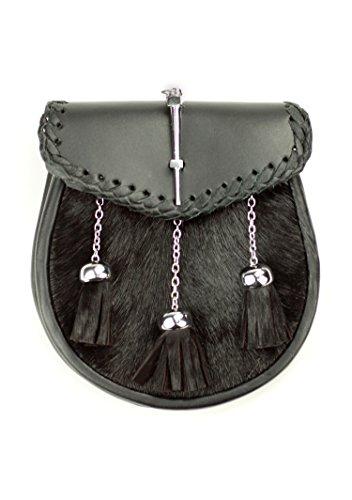 Kilt Society Mens Pin Fastening Black Leather Semi Dress Kilt Sporran by Kilt Society