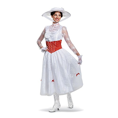 Disguise Women's Plus Size Mary Poppins Deluxe Adult Costume, White, XL (18-20) -