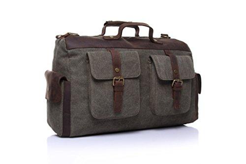 Yvonnelee Unisex Tasche Handtasche Henkeltasche Schultertasche Umhängetasche für Damen Herren Frauen und Männer aus Canvas Schulterriemen Grün KhPRhkc
