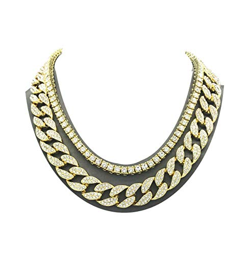 Shiny Jewelers USA Mens Iced Out Hip Hop Gold tone CZ Miami Cuban Link Chain Choker Necklace (1 Row CZ & CZ Cuban 16