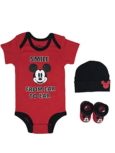 Disney Baby Boys Mickey Mouse 3-pc Set in Gift Box, 0-6 (Knit Mickey Baby Outfits)