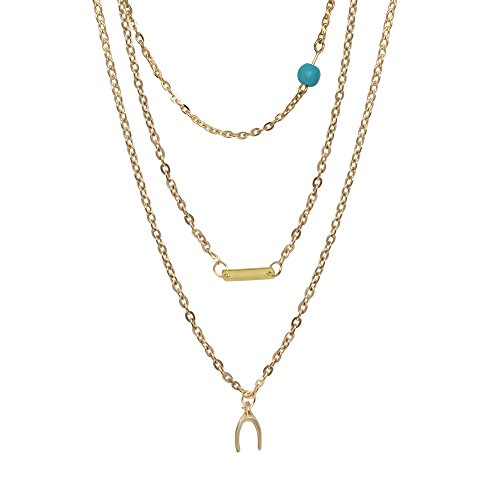 FASHION Imitation Turquoise Beaded Gold Multi-Layered Necklace in Gold Tone Base Metal.