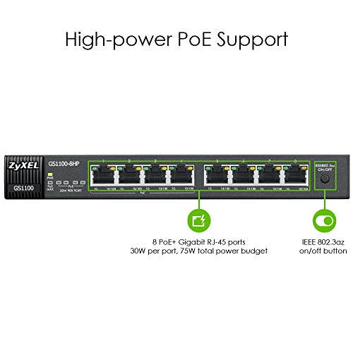 ZyXEL 8-Port Gigabit Unmanged PoE+ Switch, 4 Ports mit PoE 75 Watt max.- Design ohne Lüfter fanless [GS1100-8HP] by ZyXEL (Image #1)
