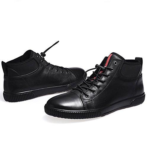 High-Top Chaussures Hommes En Cuir Chaussures Occasionnels Martin Bottes À Semelles Épaisses Casual Chaussures Rétro,Black,43
