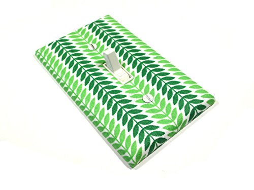 Green Laurel Leaf Stripes Light Switch Cover