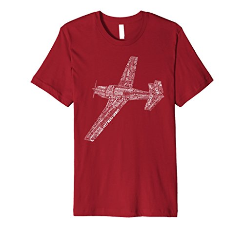 Mens Mooney M20 Typography Airplane Art History Pilot T-Shirt Small Cranberry - Mooney Airplane