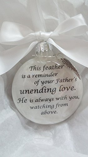 Father's Unending Love Memorial Christmas Ornament w/ Feather from an Angel Wing Charm (Love Ornament Angel)