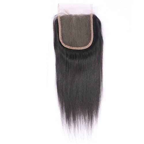 [Miss diva Free Part 10 Inch Closure Straight Virgin Brazilian Hair 130% Density Lace Closure Natural Hair Color Soft and Silky(10