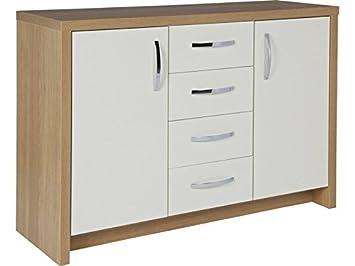 df25758448f1 Argos Lima 2 Door 4 Drawer Sideboard - White   Oak Effect  Amazon.co ...
