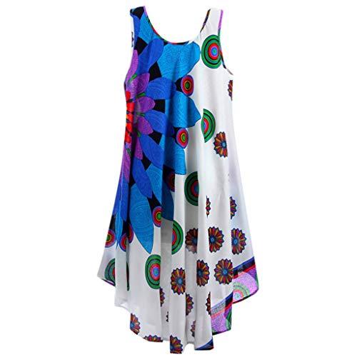 FONMA Women Summer Round Neck Sleeveless Boho Dress Printed Beach Dress Blue