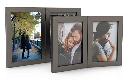 Hand Made Wooden Picture Frames (2 Pack) Double Photo Frame   2 Frame Sizes   Timeless Design, Smooth Finish Wood Frame   Hinge Frame - Easily Display Multiple Photos   for 4x6 and 5x7 Photos