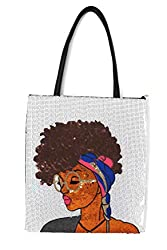 Sequin PU Leather Tote with Funky Lady Face