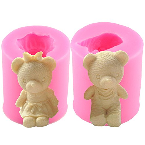 Mujiang Bear Silicone 3D DIY Soap Candle Making Molds Set Of 2 (Mold Teddy Bear)