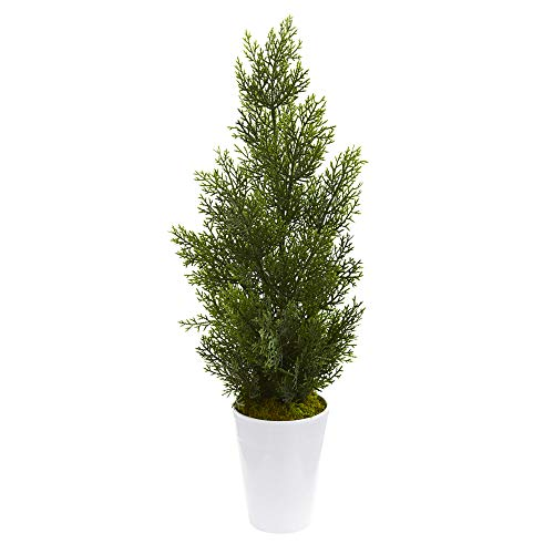 Nearly Natural 5694-WH 27-in. Mini Cedar Artificial Pine Decorative Planter (Indoor/Outdoor) Silk Trees, White ()