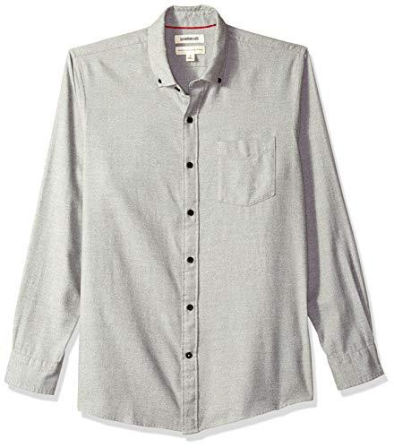 Goodthreads Men's Standard-Fit Long-Sleeve Heather Flannel Shirt, Light Grey, Medium Tall