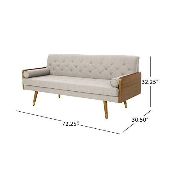 Christopher Knight Home Aidan Mid Century Modern Tufted Fabric Sofa, Beige - This mid Century modern sofa is a wonderful addition to any room in your home. Featuring wood sides and rounded legs for a true Mid Century feel. This sofa has extra plush cushioning and a button Tufted Seat and Back. With both style and comfort, you can't go wrong with this sofa. Includes: one (1) sofa Material: fabric - sofas-couches, living-room-furniture, living-room - 41Sh2JQMDIL. SS570  -