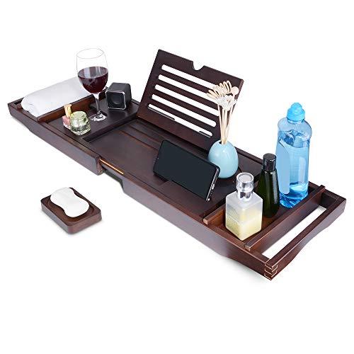 Bambus Badewannenablage ausziehbar Badewannenbrett mit Seifenschale, Tablett und Weinhalter, Seiten rutschfest
