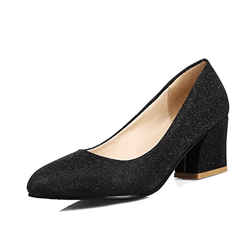 WeenFashion Women's Kitten Heels Solid Pull On Pointed Closed Toe Pumps-Shoes, Black, 40 by WeenFashion